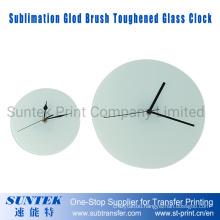 Sublimation Round Glod Brush Toughened Glass Clock