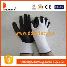 White Nylon Liner. Black PU Coated on Palm/Finger. Knit Wrist Glove (DPU416)