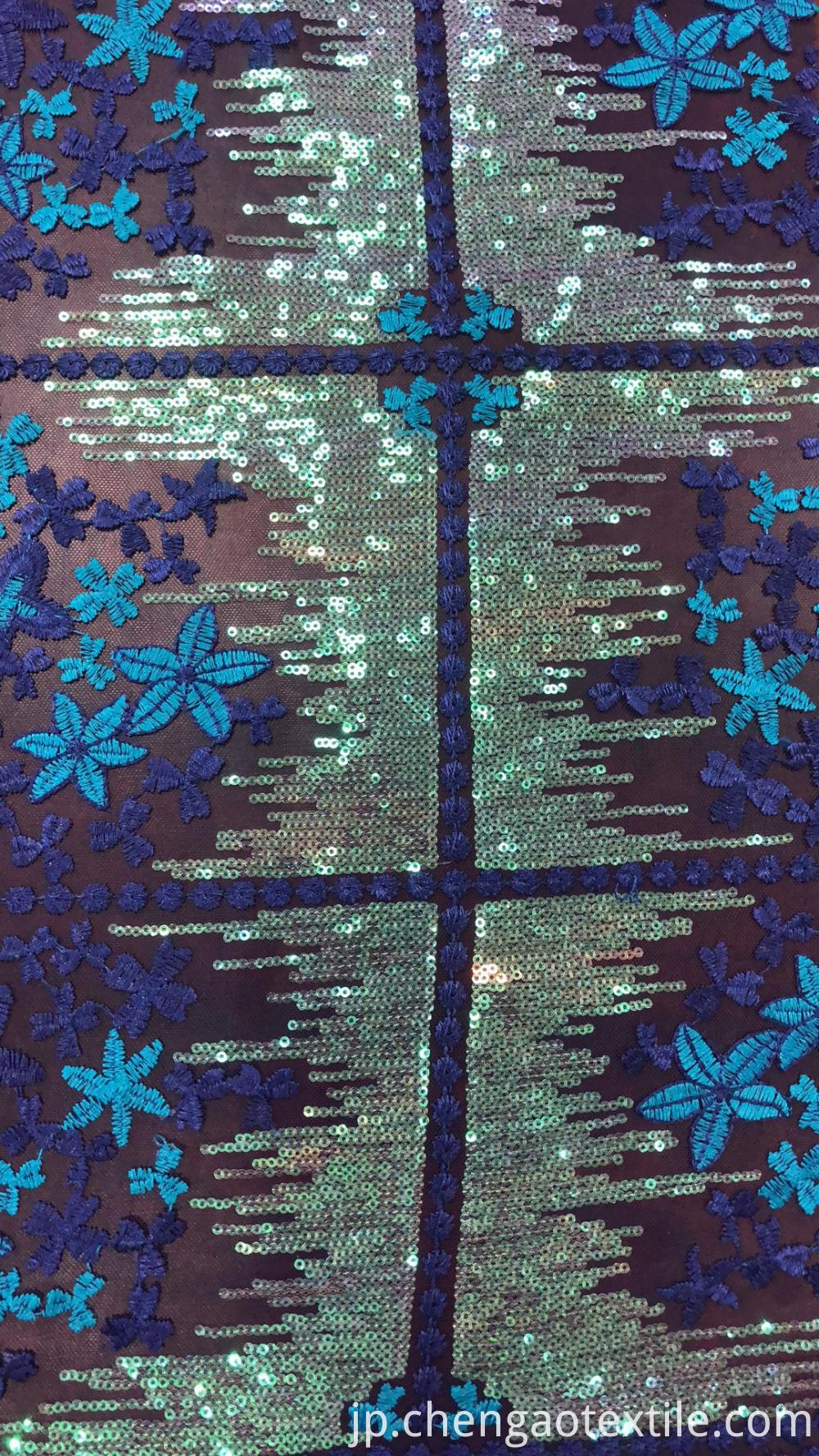 Purple and blue flowers sequin mesh embroider Fabric