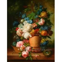 Pintura al óleo decorativa de la flor abstracta moderna