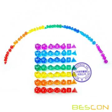 Bescon 49pcs Rainbow Gem Mini juego de dados polihédricos en tubo largo, Rainbow Dungeons and Dragons RPG Dice 7X7pcs, Juego de dados Mini Gem