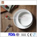 Listrado de cerâmica porcelana barato ramekins placas e talheres por atacado