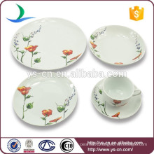 White round shape flower decals porcelain dinner set
