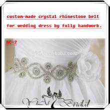 AC-2 Custom Made Beautiful Sash Crystal Rhinestone Belt For Wedding Dress