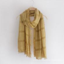 Lady Fashion Striped Plain Color Viscose Silk Scarf (YKY1152)