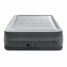 """22"""" Height Raised Downy PVC Flocked Double Queen Raised Inflated Airbed Inflatable Air Mattress With Built-in Electric Pump"""