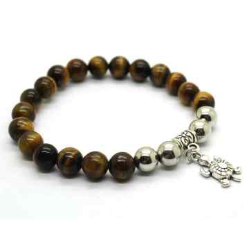Natural Tiger Eye Bracelet Gemstone Beads jewelry alloy pendants