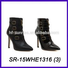 china women shoes leather upper women high heel shoes