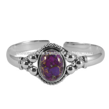 Purple Cooper Turquoise Gemstone 925 Sterling Silver Bangle