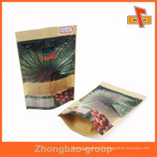 QS certificate stand up kraft paper bag for date palm packaing with clear window