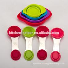 Uso de la cocina y respetuoso del medio ambiente Herramientas para hornear Multifuctional Silicona plegable Copas de medición plegables Cucharas