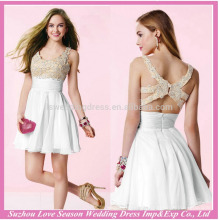 HE10022 a line prom dresses white halter chiffon elegant short prom dress with zipper back real picture evening dresses
