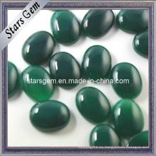 Forma Ovalada Esmeralda Color Ágata Semi-Preciosa