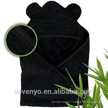 Haute qualité 100% bambou Wrap en serviette à capuchon bébé bambou bio noir Boys & Girls prime serviette de bain bébé taille pour nouveau-né