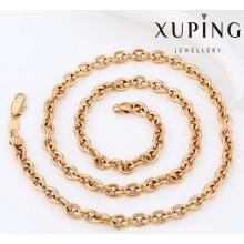 42925 Muestra de encanto de moda 18k Collar de cadena de joyería de imitación de aleación de cobre chapado en oro