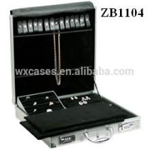 Nova caixa de joias de alumínio de chegada com bandejas dentro para anel, colares e brincos