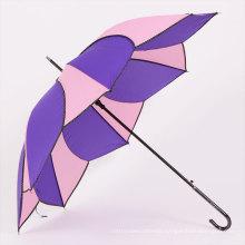Auto Open Peach and Purple Straight Umbrella (BD-53)