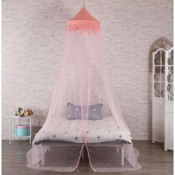 Москитная сетка с розовым куполом для односпальной кровати