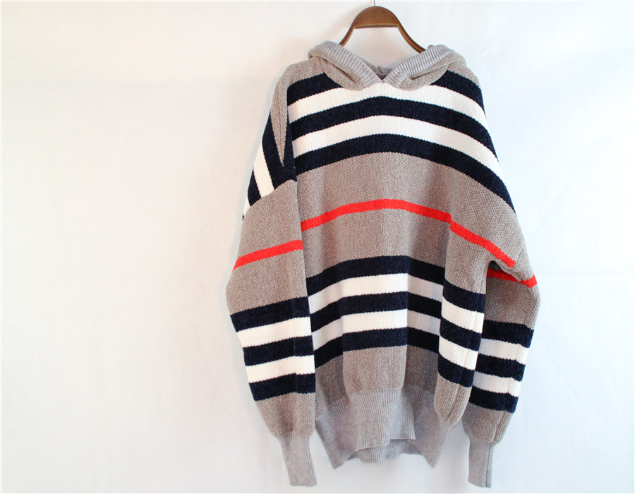 Cheap Striped Bat Sleeve Sweater with Hood