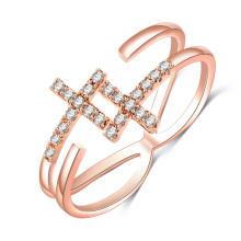Gold Wedding Sideways Cross Adjustable Rings for Women (CRI0526)