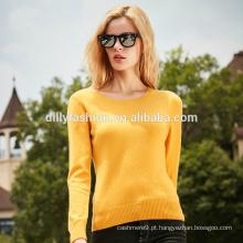 Mulheres clássicas de cor sólida tricô malha de cashmere suéteres suéter de pescoço redondo