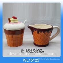 Icecream design ceramic sugar pot and milk jug