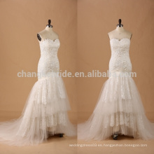 Sweetheart trompeta de encaje vestido de novia rizado vestido de novia con encaje convertible