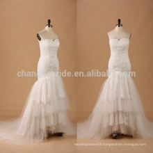 Sweetheart trumpet Lace Ruffled Wedding Dress bridal gown with lace convertible