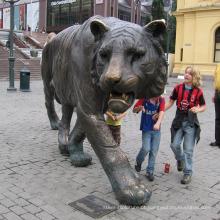 Decoração ao ar livre animal selvagem escultura bronze lsu tigre estátua