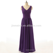 Cheap Party Dress 2016 A-Line V-Neck Pleat Purple Chiffon Floor Length Evening Dresses Vestido