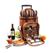 Waterproof 4 person camping bag with wine bag and blanket trolley picnic bag set