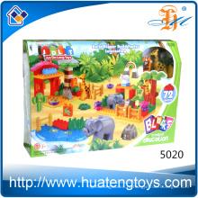 Горячие продажи 72PCS Пластиковые Творческий зоопарк животных обучения строительных блоков