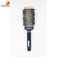 Nano cerâmico rodada barril escova de cabelo com cerdas javali naturais para secar varrer cerdas rodada escova de cabelo