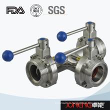 Нержавеющая сталь Санитарный трехполюсный клапан-бабочка (JN-BV3003)