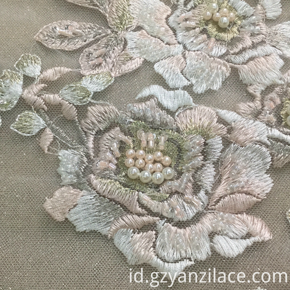 Blue Gray Flower Beaded Fabric 6