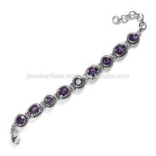 Latest Design Amethyst Gemstone 925 Sterling Silver Bracelet Jewelry