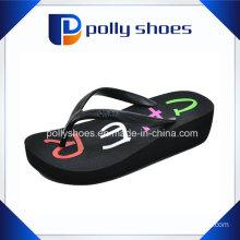 Black Thong Flip Flop Platform Wedge Beach Sandals 9 New