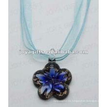 Regalo de Navidad Collar de cristal de Lampwork Collar de cristal de Lampwork Collar de cristal de Murano con cuerda de cera