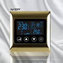 Interrupteur tactile à thermostat d'air dans un cadre métallique (SK-AC2000L8)