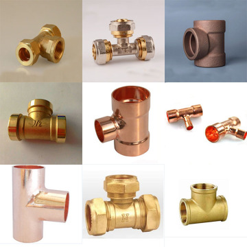 T de cobre de montagem de tubos