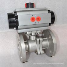 Válvula de esfera flutuante com flange e atuador pneumático