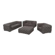 Conjunto de sofá Chesterfield Air-Leather com pernas de aço inoxidável