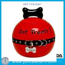 Red Small Ceramic Glazed Dog Pet Treat Jar