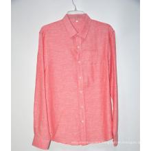 Short Sleeves Collar Pink Fabric Linen Shirt