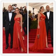 MGC10 Hot Sell Met Gala 2015 Hannah Davis Red side Splits One Shoulder Pleats Celebrity Evening Dresses