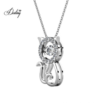 Delicate Dancing Sparkling Crystal Cute Kitty Cat Gold Pendant Necklace for Women
