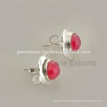wholesale 925 Sterling Silver gemstone stud earrings Handmade natural gemstone earrings jewelry