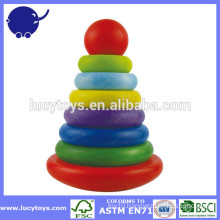 baby wooden Rainbow stacking ring toy