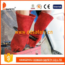 Gold Supplier China Red Cow Split Leather Welder Gloves