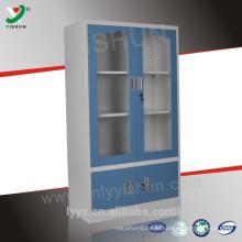 barato armário de armazenamento de aço da porta de vidro com duas prateleiras